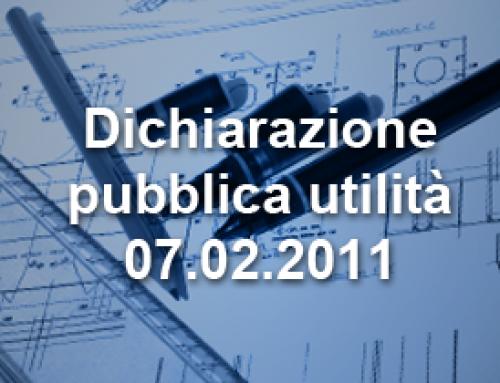 Dichiarazione pubblica utilità – 07.02.2011
