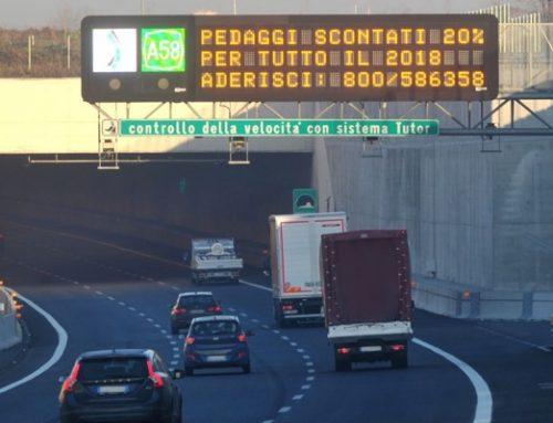 PEDAGGI SU A58-TEEM, LO SCONTO DEL 20% VIENE RINNOVATO SINO AL 31 DICEMBRE 2018
